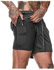 Shorts heren 2-in-1 trainingsshorts zomer korte broek sneldrogende hardloopshort sportbroek met zakken compressieshort