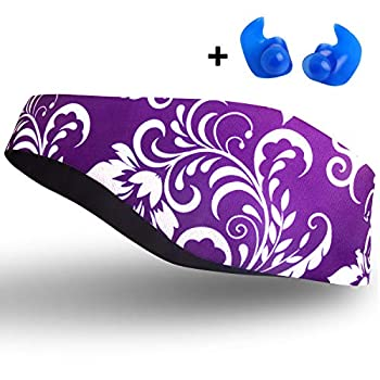 Qshare Swimming Headband – Best Design Ear Band to Protect Swimmer s Ears Doctor Recommended to Keep Water Out and Earplugs in 2 Sizes for Toddlers & Adults  Purple M  4-9 yrs