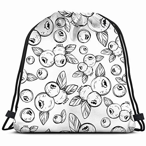 XCNGG Kordeltasche Kordeltasche Tragbare Tasche Sporttasche Einkaufstasche Einkaufstasche Handdrawing Botanical Black White Food And Drink Cranberry Drawstring Backpack Sports Gym Bag For Women Men Ch