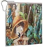 Cortinas de ducha de una pieza, 167,6 x 183 cm, tela lavable a máquina, juego de decoración de baño con gancho cortina de baño