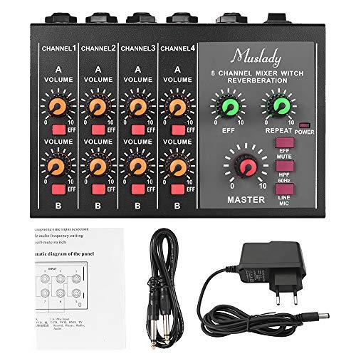 Muslady Mezclador Audio Estéreo/Mono, 8 Canales Compacto Mezclador de Sonido con Efecto de Reverberación