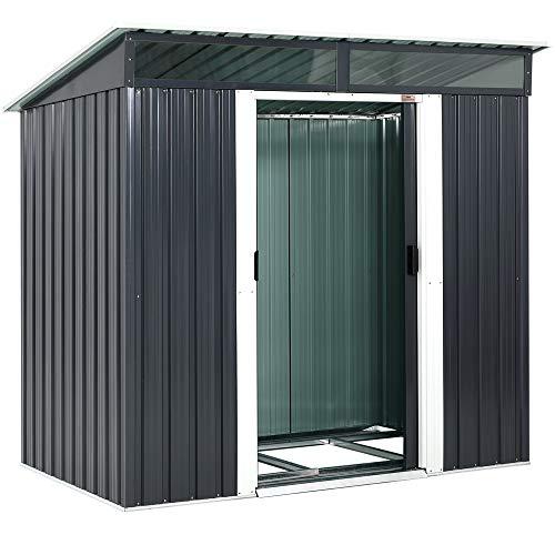 Gardebruk L Metall Gerätehaus 2m² mit Fundament 196x122x180cm 2 Fenster Anthrazit Geräteschuppen Gartenhaus 3,4m³