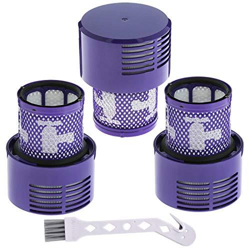 3pcs Filtre de Remplacement pour Dyson V10 Series, Filtre de Rechange con Brosse pour Absolute V10 Animal V10 Total Clean SV12, Remplacez le Filtre Ré