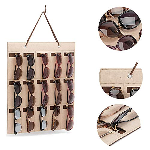 soundwinds Hängende Sonnenbrille Organizer Sonnenbrillen Lagerung Wand 15 Slots Brille Speicherorganisator Halter für Sonnenbrillen Kurzsichtige Gläser Autoschlüssel