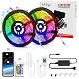 Tiras LED, LemonBest Bluetooth Musical Micrófono Impermeable 10M RGB 5050 Tiras LED 12V 29 Modos Control de APP y Control Remoto...