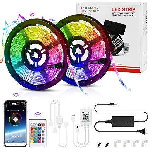 Tiras LED, LemonBest Bluetooth Musical Micrófono Impermeable 10M RGB 5050 Tiras LED 12V 29 Modos Control de APP y Control Remoto de 24 Teclas-Con Cuatro Clips