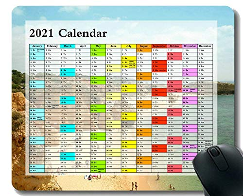 2021 Calendar Hd Font Mouse Pad,Woman Wearing Blue Straw Hat Gaming Mouse Mat