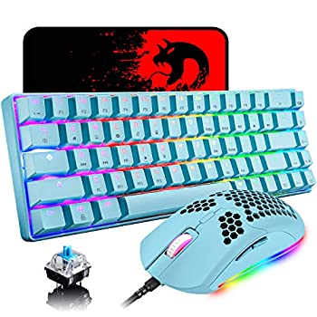 60% Mechanical Gaming Keyboard Blue Switch Mini 68 Keys Wired Type C Chroma RGB 18 Backlit Effects,Lightweight Gaming Mosue 6400DPI Honeycomb Optical,Gaming Mouse Pad for Gamers and Typists Blue