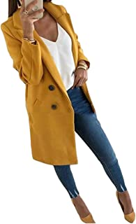 Macondoo Womens Double-Breasted Winter Warm Outwear Notched Lapel Pea Coat