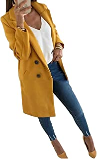 Women Double Breasted Wool Long Trench Coat Pea Coat Jacket with Pockets