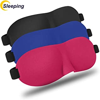 Sleep Mask 3 Pack,Upgraded 3D Contoured Blindfold,Blinks Comfortable,Protect Eyelash Extension,No Pressure Eye Mask for Travel & Sleep,Black/Blue/Pink