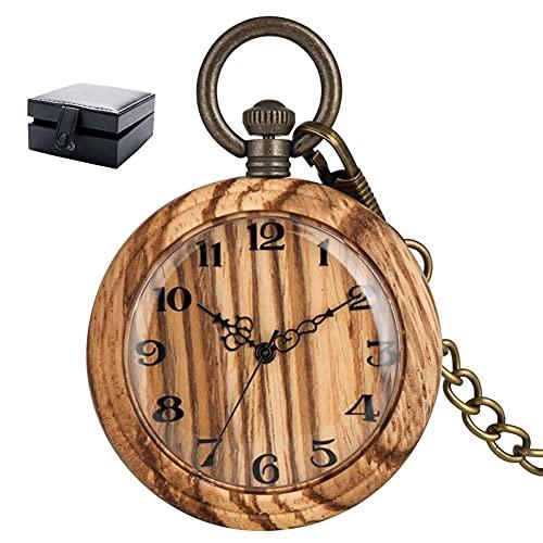ZHAOJ Reloj de Bolsillo de Cuarzo de Madera clásico ES para Hombres y Mujeres, Gran Esfera de...