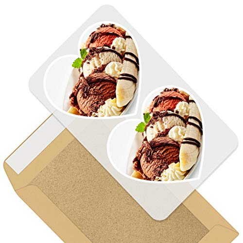 Awesome 2 x Heart Stickers 7.5 cm - Banana Split Retro Classic Desert Fun Decals for Laptops,Tablets,Luggage,Scrap Booking,Fridges,Cool Gift #44213