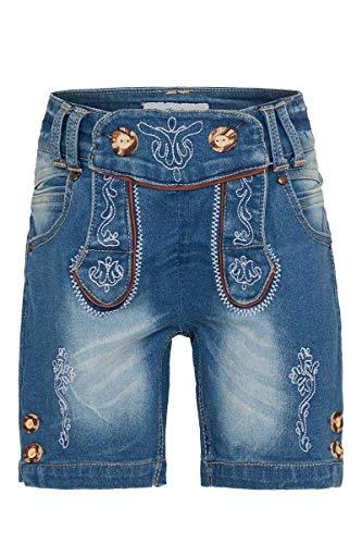Isar-Trachten Unisex - Kinder Kinder Trachten-Jeans Bermuda blau, Jeans, 140