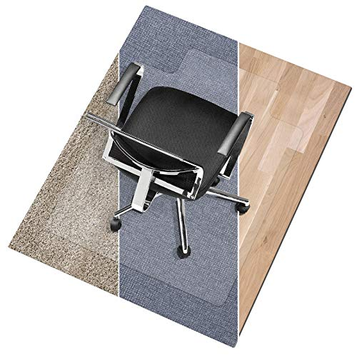 """Office Marshal Polycarbonate Chair Mat with Lip for Medium Pile Carpet Floors, 36"""" x 48"""" - Multiple Sizes - Clear, Studded, Carpet Floor Protection Mat"""