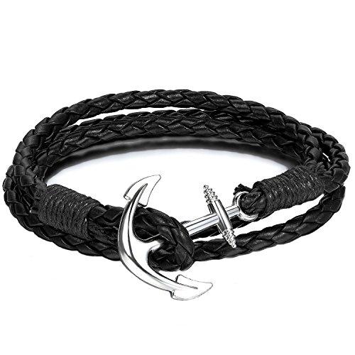 Beyond Dreams® Anker Armband aus Leder in schwarz | Lederarmband als Männer Schmuck | Herrenarmband für Herren | Armbänder für Frauen | Unisex Freundschaft Wickelarmband