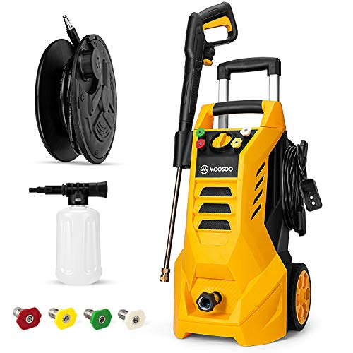 MOOSOO Electric Pressure Washer 1800-Watt Power Washer, MAX PSI 2100 High Pressure Washer, 2.3GPM Electric Power Washer Cleaner with Spray Gun, Hose Reel & 4 Nozzles