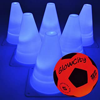 GlowCity Light-Up Soccer Ball and Cones – Blazing Red Edition Glow-in-The-Dark Size Official 5 Ball and 6 LED Agility Cones – Ideal for Youth Training, Indoor or Outdoor Play - Batteries Included