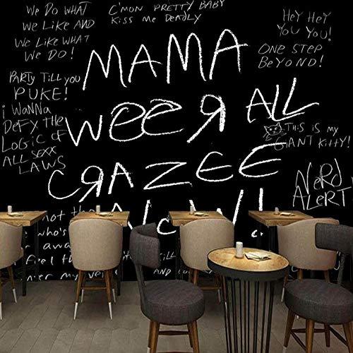 Tony plate Papel Tapiz Fotográfico 3D Mural Inglés Blanco Y Negro Bar Cafetería Papel Tapiz De Fondo Pintura Personalizada para Decoración del Hogar-430Cmx300Cm(169.3X118.1Inch)