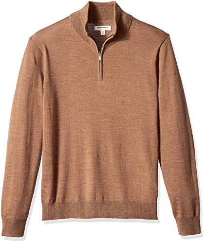 Amazon Brand - Goodthreads Men's Lightweight Merino Wool Quarter Zip Sweater, Camel, Medium Tall