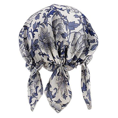MagiDeal Seide Schlafmütze Nachtmütze Kopfbedeckung elastisch, Komfort und bequem Haarpflege Nachthaube - Blau
