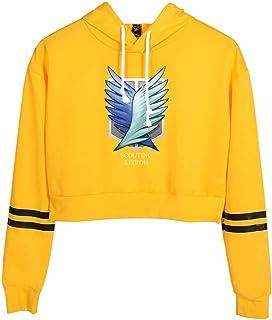Attack on Giant Pullover Hoodie Sweatshirt Printed High Waist Anime Sportswear Ladies