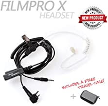 On Set Headsets: The FILMPRO X Walkie Talkie Surveillance Headset w/ 3.5mm Aux Cable for Comtek or IFB Monitor (Travel Case: Black)