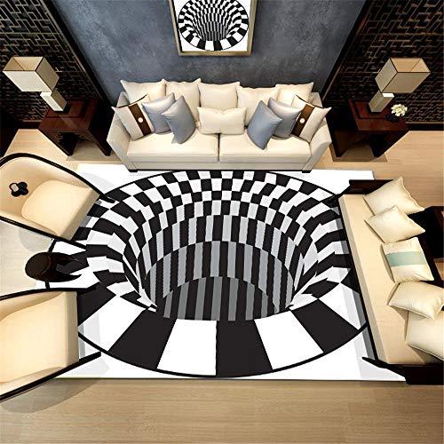 RUGMRZ Alfombra Salon Alfombra Negro Blanco bañera de hidromasaje Modelo HD Alfombra de Dormitorio Suave Duradera Alfombras para Dormitorios Alfombra De Juegos Niños Negro El 120X160CM