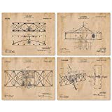 Vintage Wright Brothers Flying Machine Patent Poster Prints, Set of 4 (8x10) Unframed Photos, Wall Art Decor Airplane Gifts Under 20 for Home, Office, Man Cave, College Student, NASA & Aviation Fan