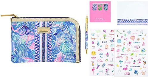 Lilly Pulitzer Pencil Case with Planner Accessories, Agenda Pack Includes Zip Pouch, Stickers, Magnets, Notepad, and a Black Ink Pen, Shade Seekers