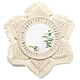 ARTALL Hanging Wall Mirror with Macrame Boho Round Mirror Decor Handmade Decoration for Living Room Bedroom Apartment