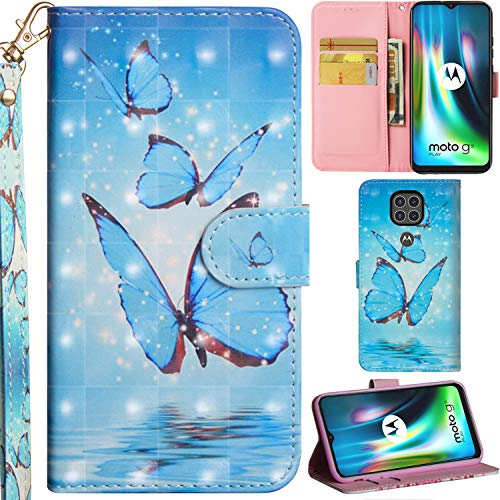 C/N DodoBuy Hülle für Motorola Moto G9 Play, 3D Flip PU Leder Schutzhülle Handy Tasche Wallet Hülle Cover Ständer mit Trageschlaufe Magnetverschluss - Blau Schmetterling