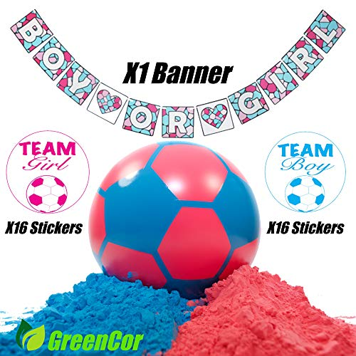 GreenCor Gender Reveal Soccer Ball  Gender Reveal Banner  X32 Gender Reveal Stickers  Powder Pink and Blue | Gender Reveal Party Supplies | Non Transparent | Soccer Ball Gender Reveal