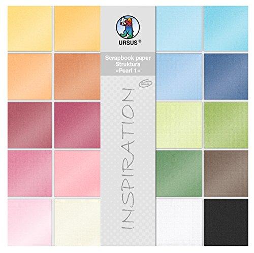 Ursus 81320099 - Scrapbook paper Block Struktura Pearl 1, ca. 30,5 x 30,5 cm, 20 Blatt sortiert in 20 Farben