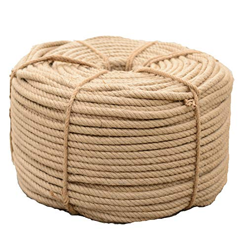 Corde en jute torsadée naturelle de 2,5 cm de diamètre (25 mm x 20 mètres)