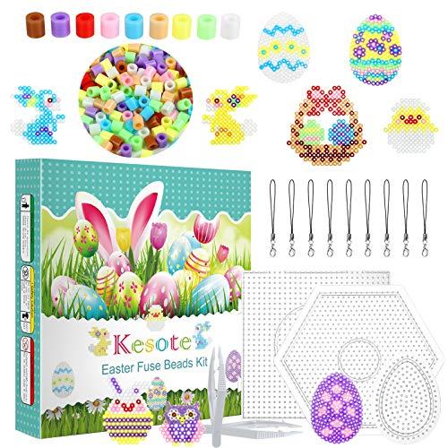 Kesote Juego de Mini Cuentas de Planchar Pascua Cuentas Colores Plásticas con Accesorios para DIY Manualidades (5mm)