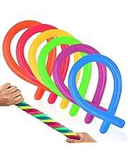 """Coogam Set van 6 sensorisch speelgoed met rekbare snaren  - Verlicht stress en verhoog geduld, trek - Goed voor kinderen met ADD, ADHD of autisme, en volwassenen om armen te versterken, 11 """"lengte, 6 kleuren"""