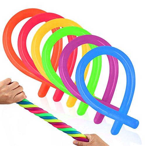 Coogam 6 Pack Stretchy String Sensory Toys - Alivia el estrés y Aumenta la Paciencia, Tira - Bueno para niños con Add, ADHD o Autismo y Adultos para Fortalecer los Brazos, 11