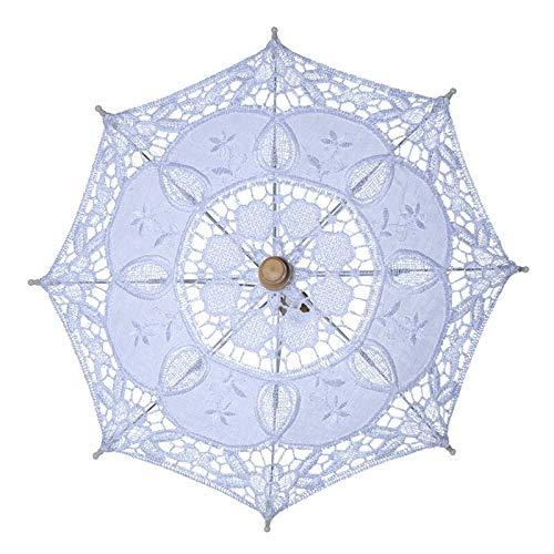 TCross Paraguas de encaje de 43 cm de largo, paraguas bordado de algodón para bodas, decoración (color blanco)