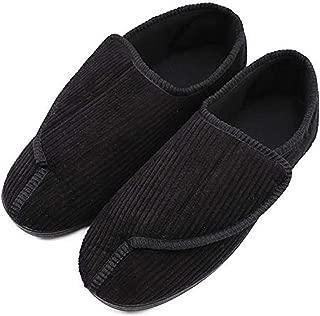 Men's Memory Foam Diabetic Slippers with Adjustable Closures,Extra Wide Width Comfy Warm Plush Fleece Arthritis Edema Swollen House Shoes Indoor/Outdoor