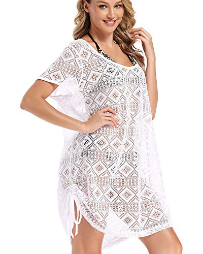 AS ROSE RICH Swimsuit Cover Ups for Women - Beach Dresses for Women - Diamond Lace Dress - Regular and Plus Size Large White