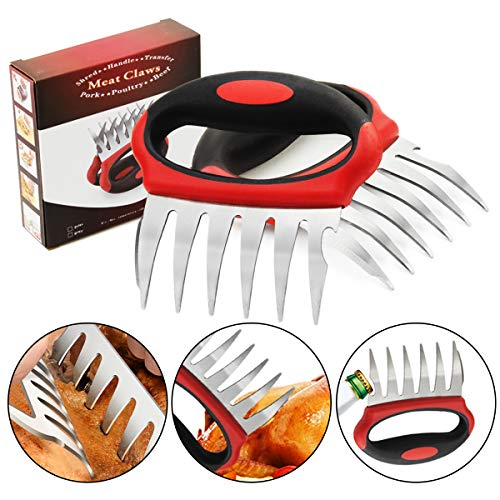 Leadrise 2 PCS Meat Claw, 3 in 1 Functional Bear Claw BBQ Claw with Stainless Steel Fork and Soft Touch Rubber Plastic Handles for Shredding, Handling, Carving Pulled Pork, Chicken, Beef & Turkey