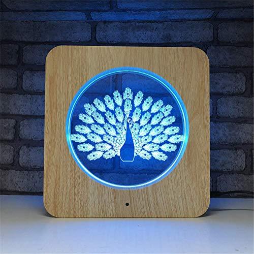 Illusion LED Lampe 3D 7 couleurs Illusion Optique Acrylique Cadre photo en bois LED Veilleuse avec télécommande arrêtée et tactile Swith Table Table Eclairage Câble USB et batterie (Peacock)