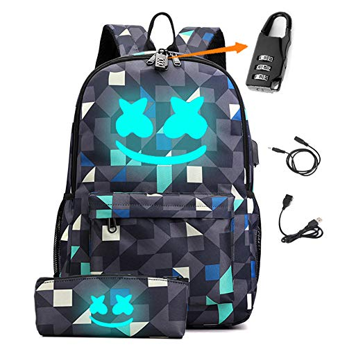 Smile Luminous Backpack with USB Charging Port & Anti-theft Lock & Pencil Case for School, Unisex School Bookbag Daypack Laptop Backpack (Geometric)