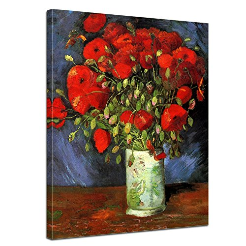 Wandbild Vincent Van Gogh Vase mit roten Mohnblumen - 50x70cm hochkant - Alte Meister Berühmte Gemälde Leinwandbild Kunstdruck Bild auf Leinwand