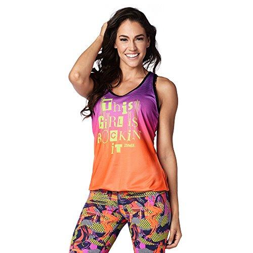 Zumba Fitness Bubble Hem Workout Tank Dance Graphic Print Sexy Tops Women, Purple Power, XS