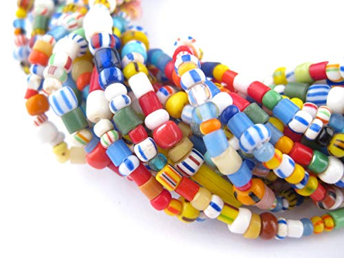 350 Christmas Beads - Love Beads - Tiny Chevrons, Seed Beads - African Glass Beads - Jewelry Making Supplies - Made in Ghana