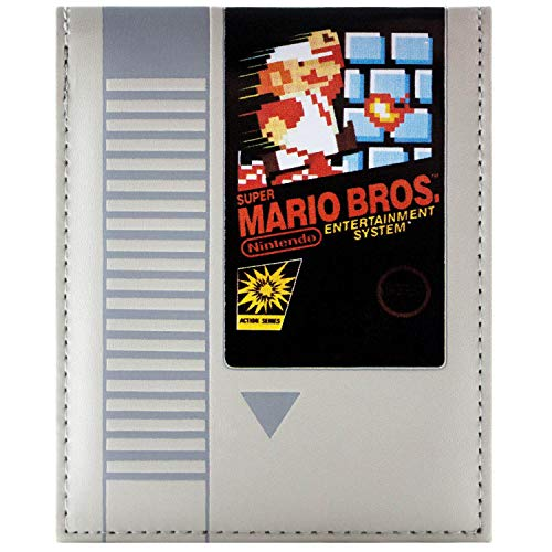 Cartera de Super Mario Bros Cartucho retro NES Gris