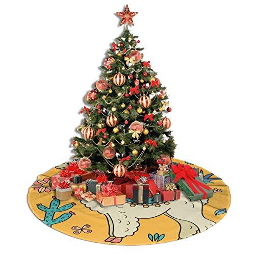 ASDJLK Christmas Tree Skirt, 48' Cute Llama and Cactus Xmas Tree Decorations for Holiday Party