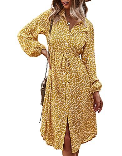 Vestido Otoño Mujer Cuello V Mangas largas Bohemio Playa Fiesta Cinturón Botones Suelto Chic Casual Midi Largas Vestidos Amarillo